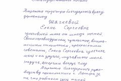 Благодарственное письмо 03 декабря 2019 Шагеевой Е.С.